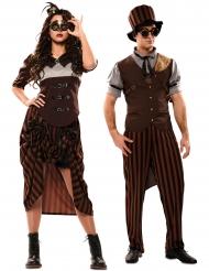 Viktorianisches-Partnerkostüm Steampunk-Verkleidung für Erwachsene braun-schwarz