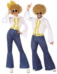 70´s-Paarkostüm für Damen und Herren Disco-Verkleidung weiss-blau-goldfarben