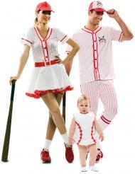 Baseball-Spieler Familienkostüm weiss-rot