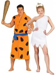 Höhlenmensch-Paarkostüm für Erwachsene Steinzeit-Kostüm orange-schwarz-weiss