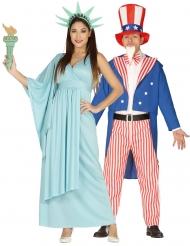 Amerikanisches-Paarkostüm für Erwachsene USA Uncle Sam und die Freiheitsstatue blau-rot-weiss