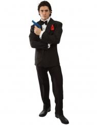 Britisches Spion-Kostüm für Erwachsene Faschings-Verkleidung schwarz-weiss