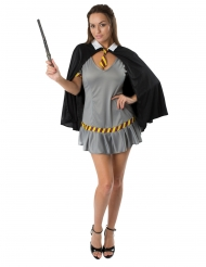 Zauber-Schülerin Hexe Damenkostüm für Fasching grau-schwarz