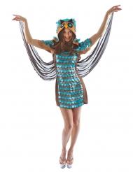 Hübsches Eulenkostüm für Damen Faschings-Verkleidung blau-braun
