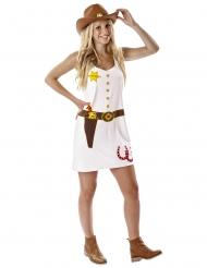 Sheriff-Damenkostüm Cowgirl-Verkleidung weiss-braun