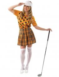 Sportliche Golferin Damenkostüm für Fasching orange