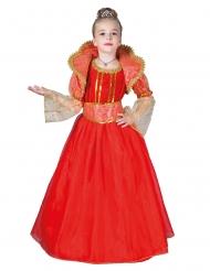Royales Königin-Kostüm für Mädchen rot-gold