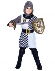 Tapferes Ritter-Kostüm für Jungen Faschings-Verkleidung grau-schwarz-weiss