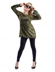 70´s Pailletten-Oberteil für Fasching Disco-Zubehör gold-schwarz