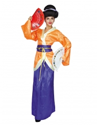 Geisha-Damenkostüm für Fasching kulturelle-Verkleidung violett-orange