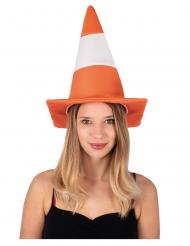 Pylon-Hut für Erwachsene Leitkegel orange-weiss