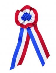 Französische Stoffrosette 8x20cm blau-weiss-rot