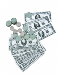 Dollarmünzen und Banknoten-Set 66-teilig Zubehör für Bankräuber grau-schwarz