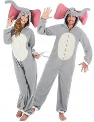 Elefanten-Paarkostüm für Erwachsene Tier-Overall grau-rosa-weiss