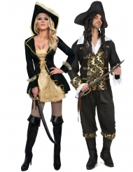 Piraten-Paarkostüm Seeräuber für Fasching schwarz-goldfarben