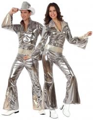 70er-Jahre Disco-Paarkostüm für Erwachsene Fasching silberfarben