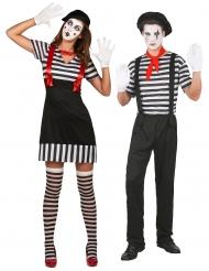 Pantomime-Partnerkostüm für Erwachsene Mimik-Kostüm schwarz-weiss-rot