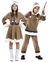 Eskimo-Paarkostüm für Kinder Jungen und Mädchen Faschingskostüm braun-weiss