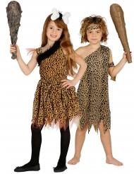 Steinzeitmenschen-Paarkostüm für Jungen und Mädchen Faschingskostüm schwarz-braun