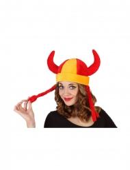 Spanien Fan-Helm mit Zöpfen und Hörnern rot-gelb