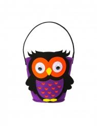 Niedlicher Eulen-Behälter Süßigkeiten-Eimer für Halloween violett-schwarz-orange