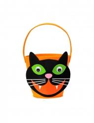 Süßigkeiten Katzen-Eimer Halloween-Accessoire orange-schwarz