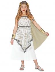 Griechische-Göttin Mädchen-Kostüm für Fasching weiss-silber-goldfarben
