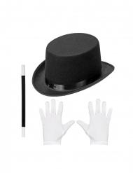 Accessoire-Zauberset für Kinder 3-teilig Karneval schwarz-weiss