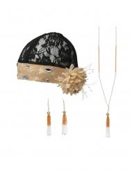 20er-Jahre Accessoire-Set für Fasching 3-teilig schwarz-beigefarben