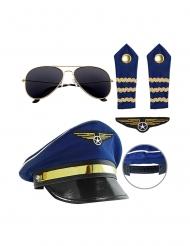 Piloten-Set Accessoire-Zubehör 5-teilig Berufsuniform blau-schwarz-gold