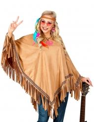 Hippie-Poncho für Damen Kostüm-Accessoire mit Fransen braun