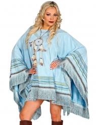 Indianer-Poncho für Damen Kostüm-Zubehör hellblau-braun