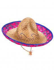 Sombrero-Hut für Erwachsene mexikanische Kopfbedeckung beige-rosa-blau