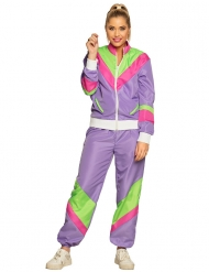Retro-Jogginganzug für Damen 80er-Kostüm Bad-Taste lila-pink-grün