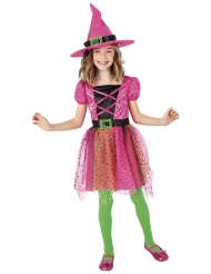 Farbenfrohes Hexenkostüm für Mädchen Walpurgisnacht pink-bunt