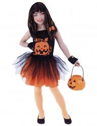 Lustiges Kürbis-Kostüm für Mädchen Halloween-Verkleidung schwarz-orange