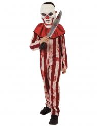 Gestreiftes Killerclown-Kostüm für Kinder Halloween rot-beige