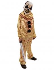 Furchteinflössendes Horrorclown-Kostüm für Teenager Halloween gelb-rot