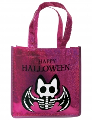 Glitzertasche mit Skelett-Fledermaus Halloween Accessoire pink-schwarz 24,5 x 8 x 24,5 cm