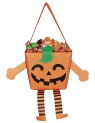Lustige Kürbis-Tasche für Kinder Happy Halloween orange-schwarz-grün 17 cm