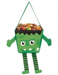 Lustige Monster-Tasche für Süßigkeiten Halloween grün-schwarz-weiss 17 cm