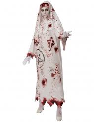 Pentagramm Horror-Nonne Halloween Damenkostüm weiss-rot