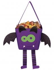 Süße Fledermaus-Tasche für Süßigkeiten Halloween violett-schwarz