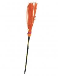 Hexen-Besen magisches Accessoire für Halloween orangefarben