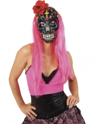 Dia de los muertos-Maske mit Rose Accessoire für Halloween bunt
