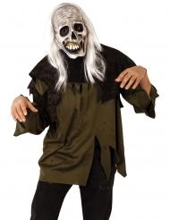 Verfaulte Zombie-Maske Halloween-Zubehör mit Haaren weiss-grau