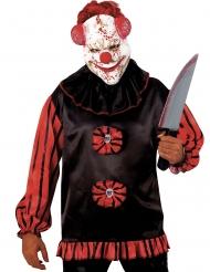 Horror-Clown-Maske mit breitem Grinsen Halloween-Zubehör weiss-rot