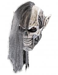 Nekromanten-Maske für Halloween Accessoire für Erwachsene grau-weiss