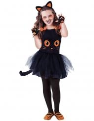 Niedliches Katzen-Kostüm Halloween-Verkleidung für Mädchen schwarz-orange