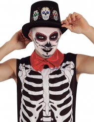 Dia de los Muertos-Hut mit Leuchtfunktion Halloween-Accessoire schwarz-bunt